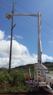 The energy company assisting installation of an acoustic device at low elevation