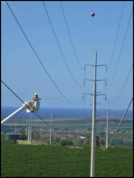 Lineman tapping the wires to replicate the strike sound