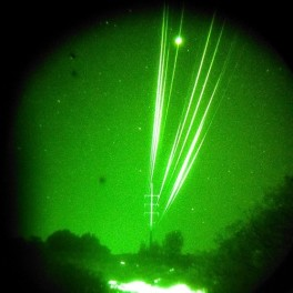 Power lines observed through night vision