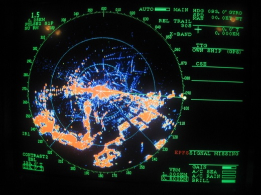 Radar screen - dotted lines represent seabirds in flight. Photo by Andre Raine
