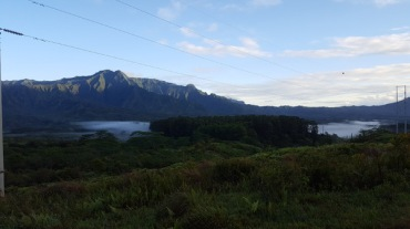 Morning sunrise with fog near Lihue crater