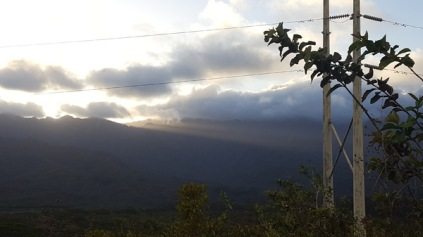 Sunset behind the mountains near Lihue crater