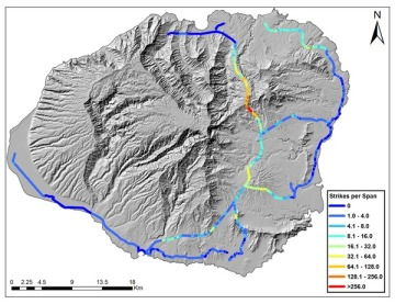 UMP Bayesian predictive model of island wide power line collisions