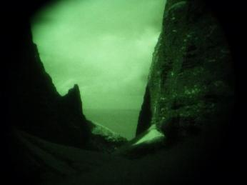 View of the mouth of Awa'awa'puhi Valley through night vision during evening surveys for Newell's Shearwaters